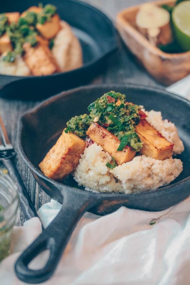 Crispy Sesame Soy Tofu w/ Kaffir Lime Leave Pesto