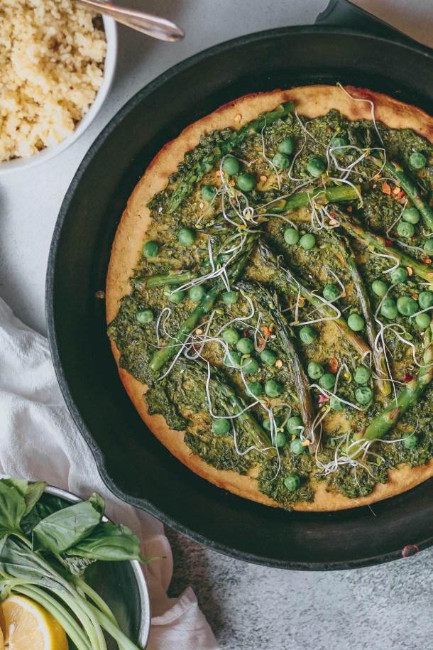 Garlic Scape Pesto Socca Flatbread
