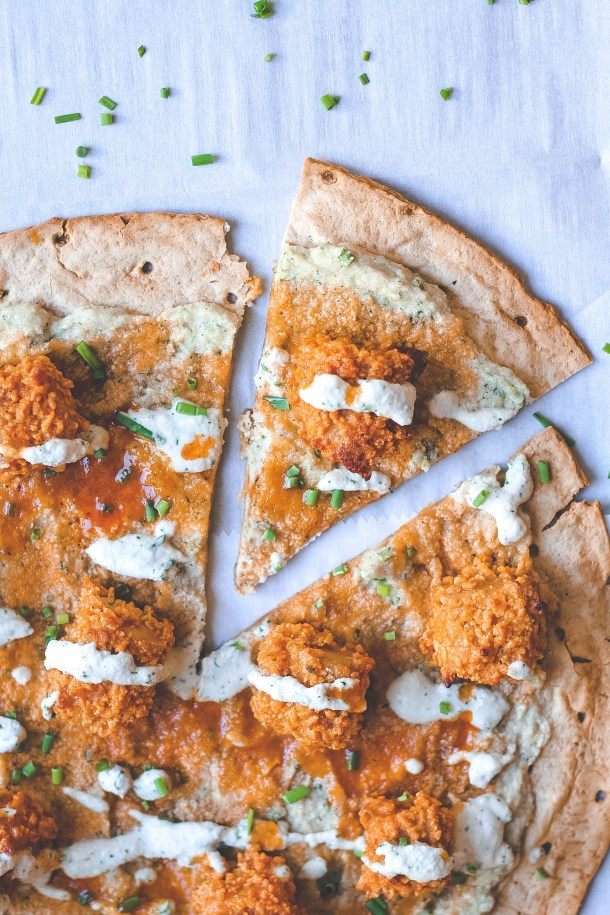 Crispy Buffalo Tofu Pizza with Vegan Ranch