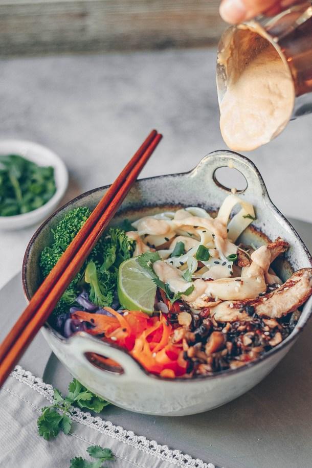 Sesame Mushroom Noodle Bowl