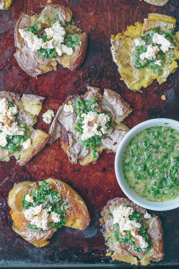 Crispy Smashed Potatoes with Chimichurri