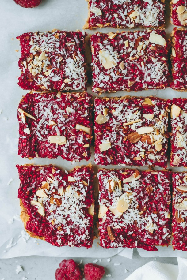 Raspberry Almond Coconut Bars