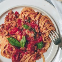 One-Pot Lentil Bolognese Pasta
