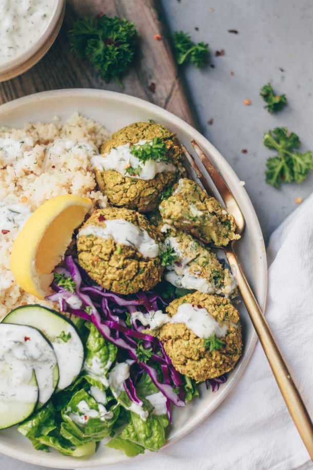 vegan falafel bowl with tzatziki sauce
