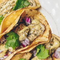 Vegan Fish Tacos with Herbed Cashew Crema