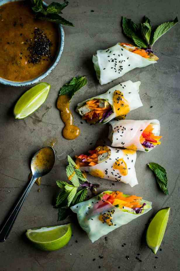 Vegan Summer Rolls With Dipping Sauce two ways