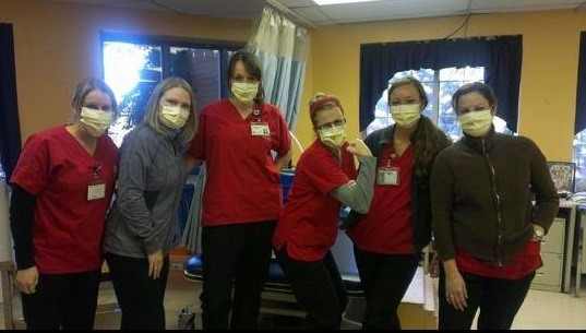 Nurses are required to wear face masks for refusing the flu vaccine. Photo from Nurses Against Mandatory Vaccines Facebook Page.