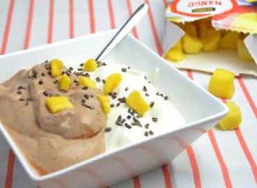 Mango en chocolade protein fluff