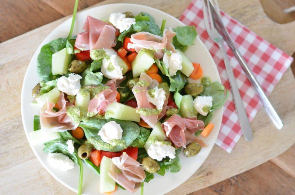 Zomerse salade parmaham