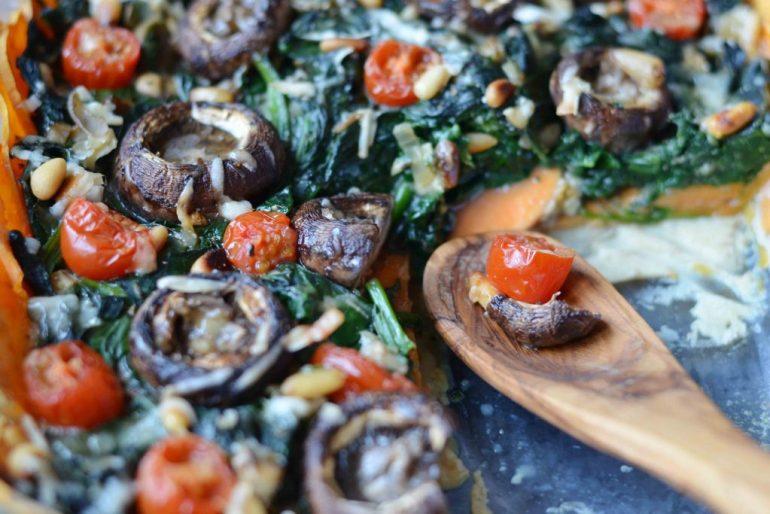 glutenvrije zoete aardappel quiche met spinazie