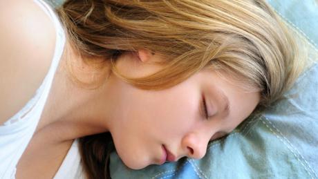 a girl is sleeping