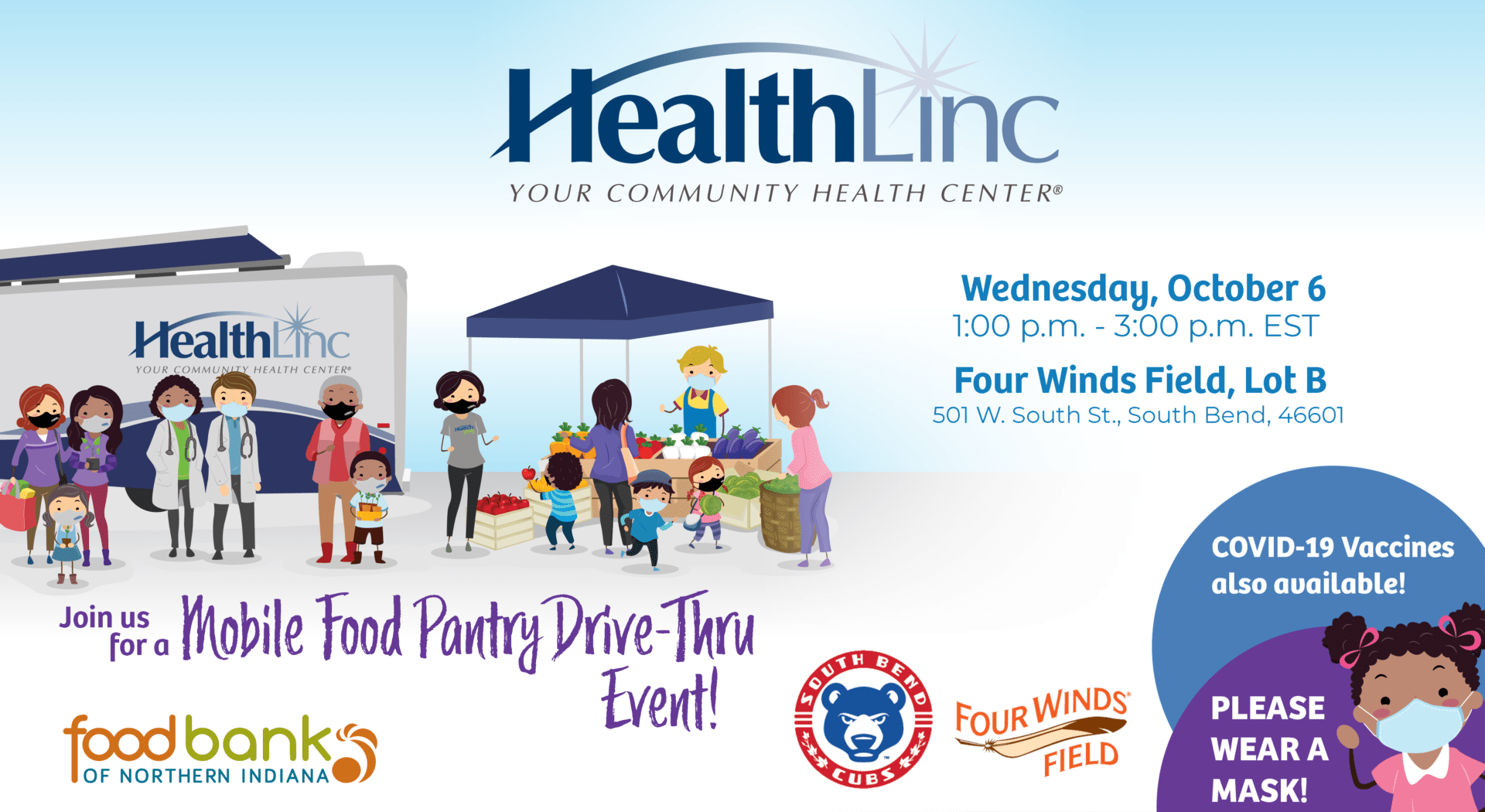 Image promoting the South Bend drive-thru mobile food pantry, hosted in part by HealthLinc, the Food Bank of Northern Indiana, the South Bend Cubs and Four Winds Field.