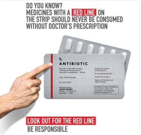 Antibiotic with Red Strip on Back