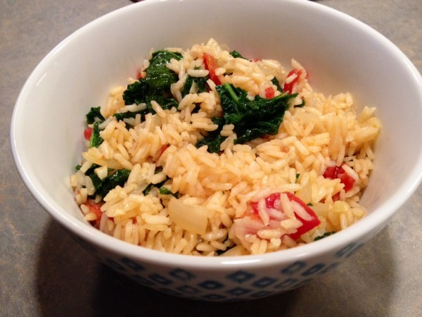 kale with tomato risotto