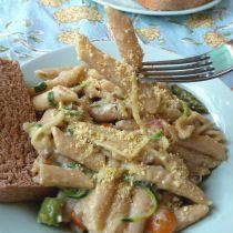 vegan creamy garlic pasta with roasted veggies