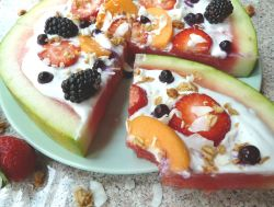 """Watermelon Dessert """"Pizza"""" is the perfect treat for summer. Cool off with this easy, DELICIOUS, but also incredibly healthy dessert. Plus see the FULL TUTORIAL on how to make Coconut Whipped Cream at home! It's way easier than you think and goes great on top of this dessert pizza! #watermelon #summerdessert #plantbased #vegandessert #dessertrecipe #coconutwhippedcream"""