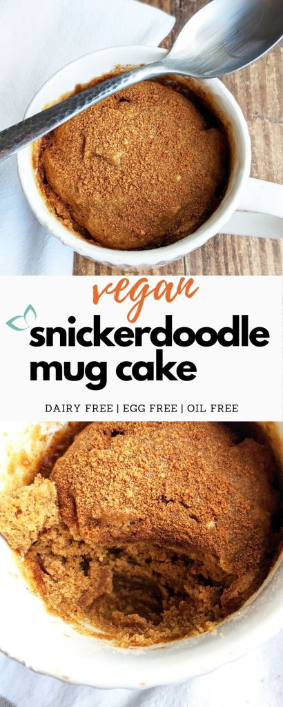 This vegan mug cake is the perfect single serving dessert. It only requires 8 ingredients, a mug, and a microwave! Indulge with this healthy cake version of the traditional snickerdoodle cookie. #snickerdoodle #mugcake #vegancake #vegandessert #oilfree #plantbaseddessert #cakerecipe #veganmugcake #healthydessert