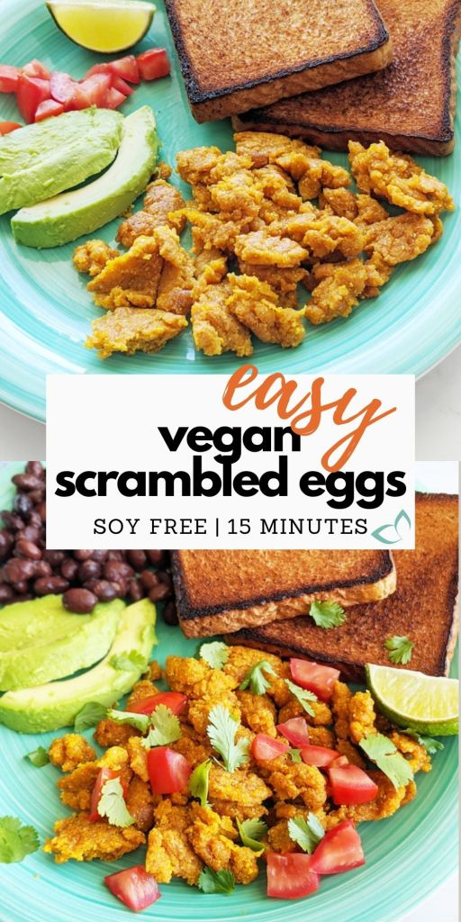 Vegan scrambled eggs made from chickpea flour. They're easy to make, gluten-free, and high in protein and fiber. Just 15 minutes to make and super filling—the best vegan breakfast option! Great for meal prep or as a quick breakfast when you're low on time. Vegan scrambled eggs   high protein chickpea scramble   gluten free and soy free recipe   vegan protein breakfast   chickpea flour scramble #veganeggs #veganprotein
