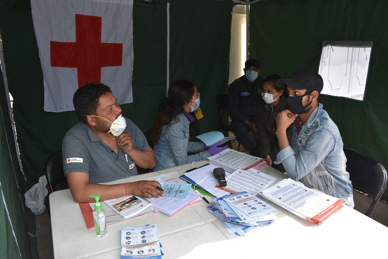 Redcross Help desk at Hospital