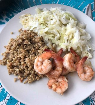 Stir-Fry Shrimp, Vegetable Buckwheat, & Fried Cabbage