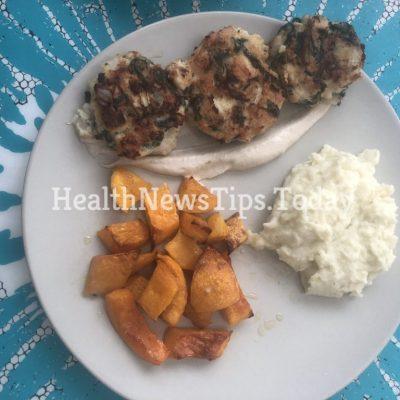 Spinach and Chicken Patties (Yogurt Tahini Sauce)