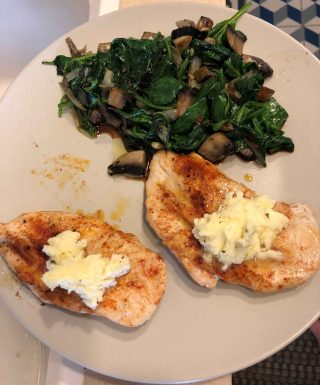 Chicken Breast in Butter & Sautéed Spinach and Mushrooms
