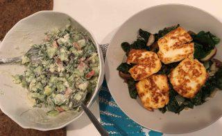 Low-Carb Fried Halloumi Sticks, Sautéed Spinach and Mushrooms, & Healthy Salad