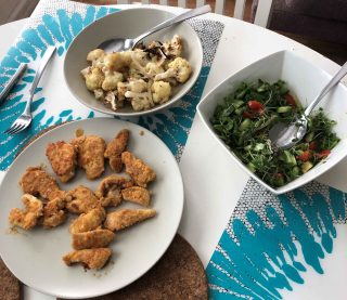 Low-Carb Chicken Tenders (Israeli Schnitzel), Mediterranean Israeli Organic Salad & Roasted Cauliflower