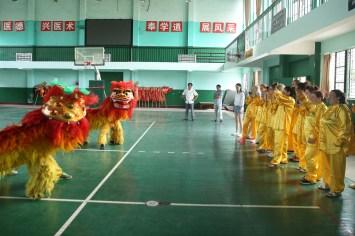 6月29日,西苏格兰大学的同学们在南华大学体育馆观看南华大学龙狮队的舞龙舞狮表演 (2)