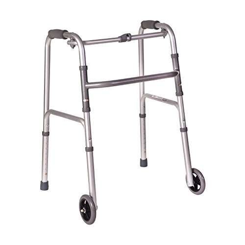 DMI Lightweight Aluminum Folding Walker with Single Release, 5 Inch Wheels, Adjustable Height, No Assembly Needed, Silver