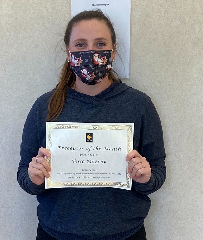 Athletic Training Preceptor of the Month for January 2021: Tessa McEvoy