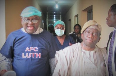 Prof. Osato Giwa-Osagie with Prof. Isaac Adewole at the IVF centre