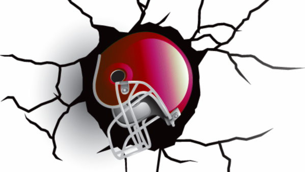 broken wall with football helmet