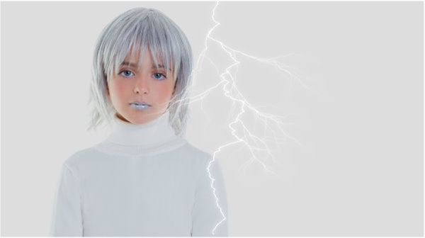beautiful futuristic kid girl futuristic child with gray hair