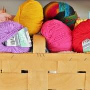Basket of coloured wool