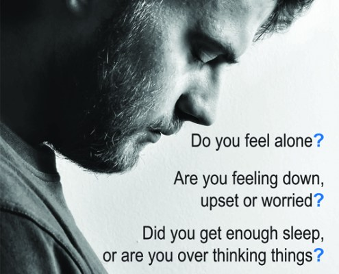 young man and caption: do you feel alone?