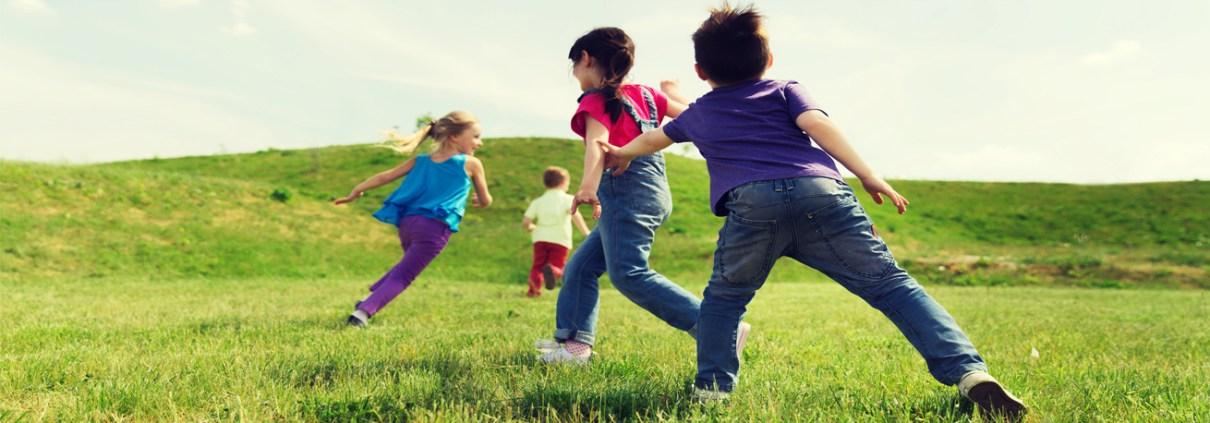 children playing on grassland