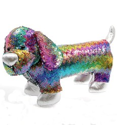 Sequinned cuddly dog toy