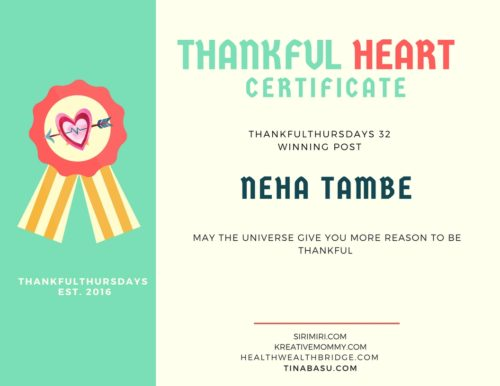 THANKFUL HEART CERTIFICATE for NEHA