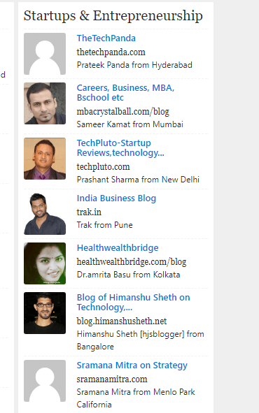 TOP Indian blogger startup and entrepreneurship