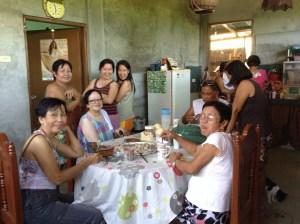 Velasquez family eating halohalo together