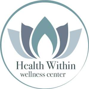 Health Within Logo. Lotus within teal circle with white background.