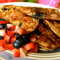 Red and Blue Coconut Flour Pancakes (Paleo)