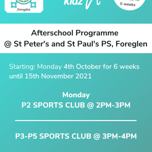 Healthy Kidz Afterschools at St Peter's and St Paul's PS, Foreglen