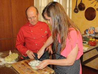 Chef Paolo teaching me how to make ravioli filling