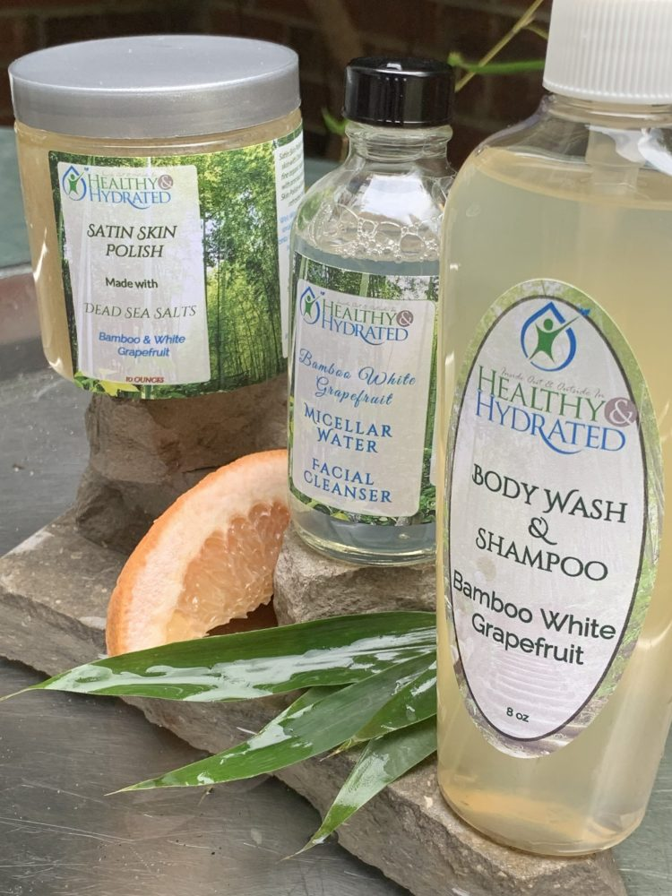 bamboo grapefruit shower set