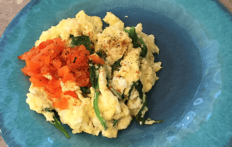 Eggs and Spinach Scramble with Red Pepper Pesto