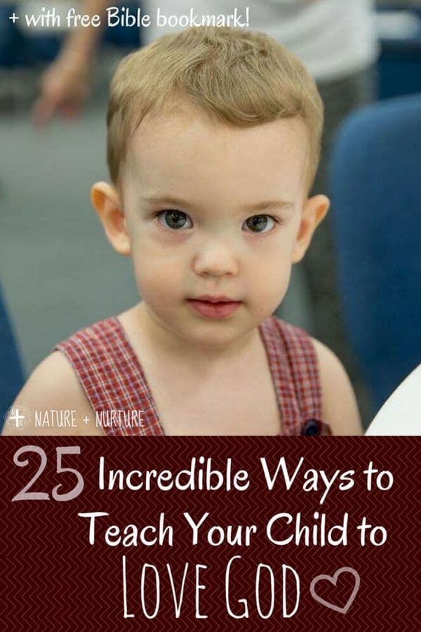 "A little boy in overalls with text overlay, ""Teaching Kids About God: 25 Ways"""