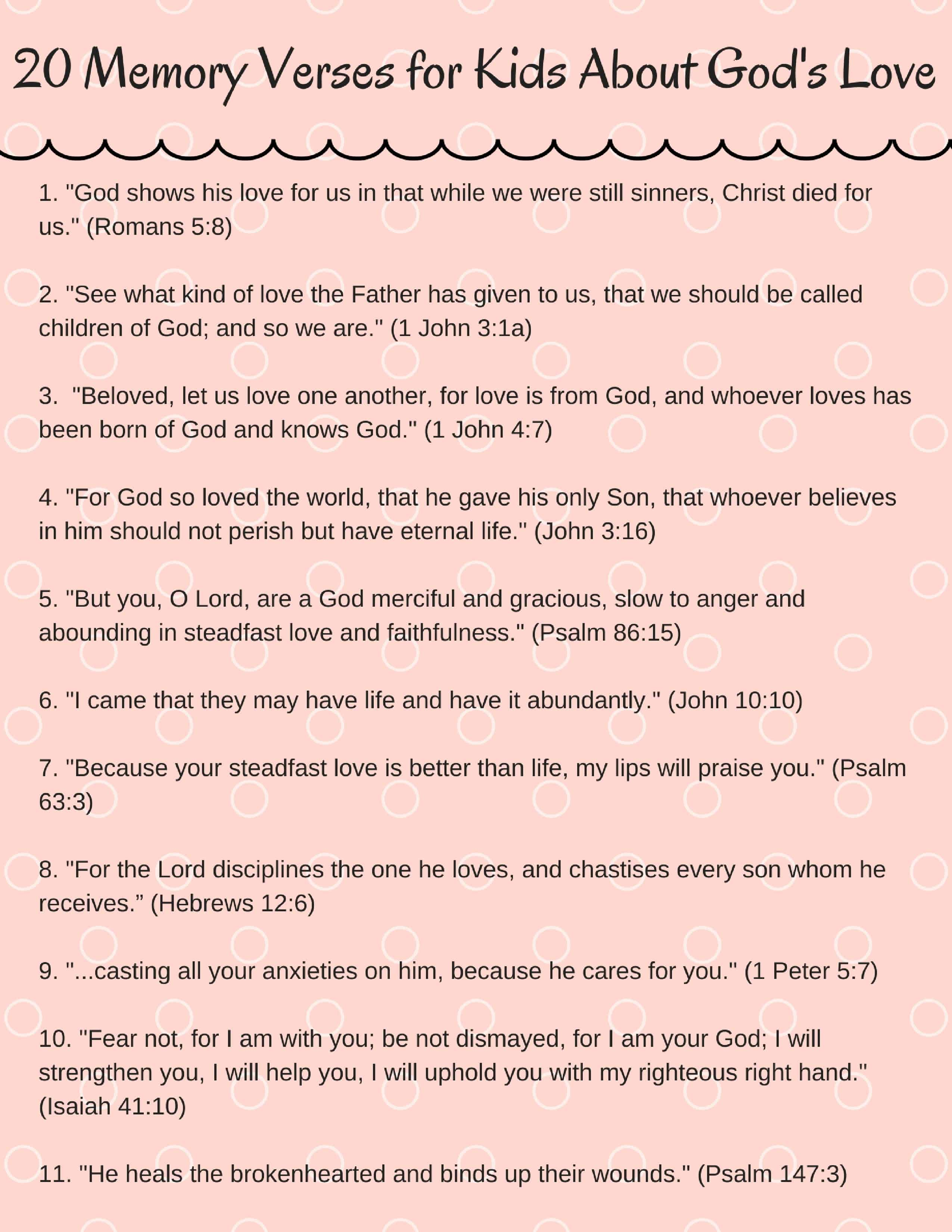 photo relating to Printable List of the Names of God Pdf identified as 20 Childrens Bible Verses Relating to Gods Take pleasure in (with No cost