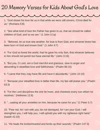 This PDF printable lists all 20 of the best bible verses for children.
